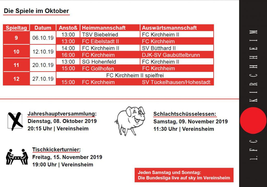 Die Highlights im Oktober