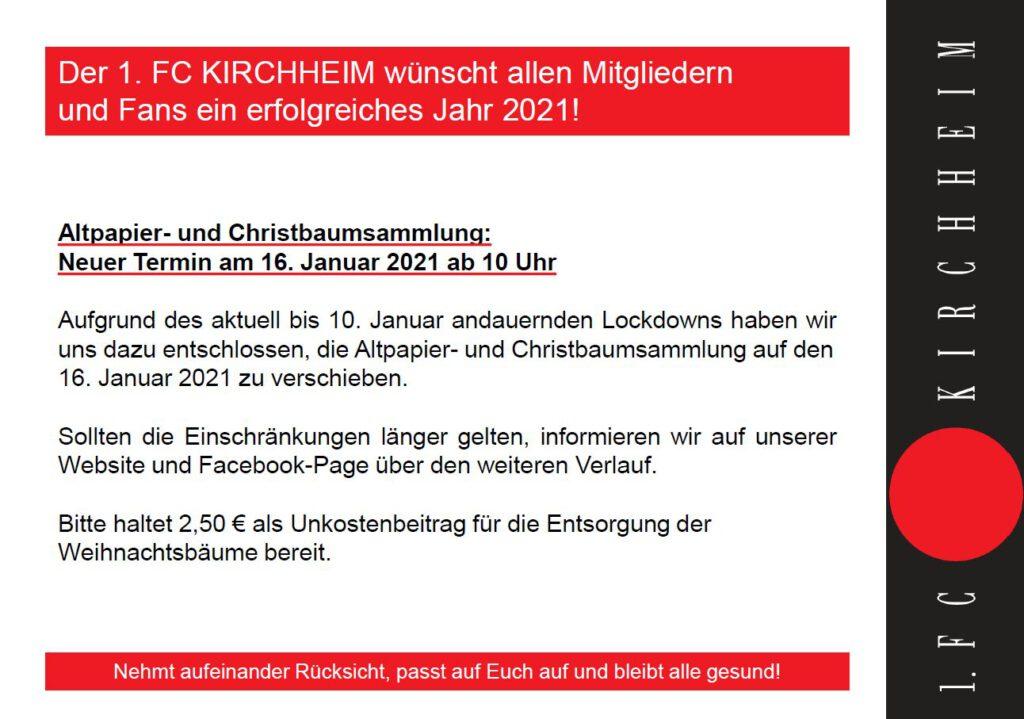 Altpapier- und Christbaumsammlung 16.01.2021